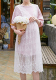Pink-White Patchwork Lace Wavy Edge 2-in-1 Half Sleeve Pregnant Women Midi Dress