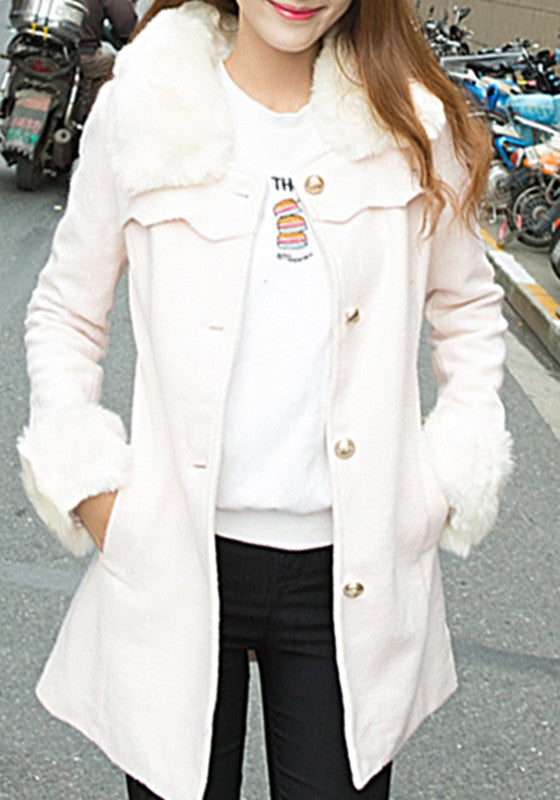 White Patchwork Pockets Single Breasted Fur Collar Wool Coat
