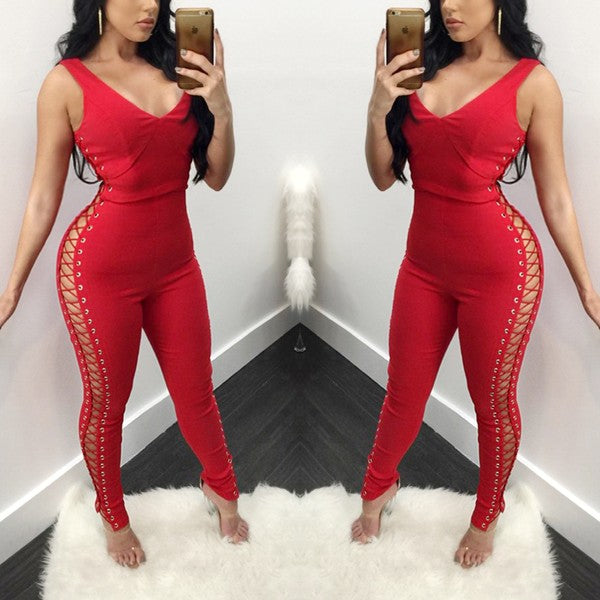Red Plain Hollow-out High Waisted Fashion Long Jumpsuit