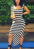 Black-White Striped Irregular Swallowtail High-low Casual Going out Maxi Dress