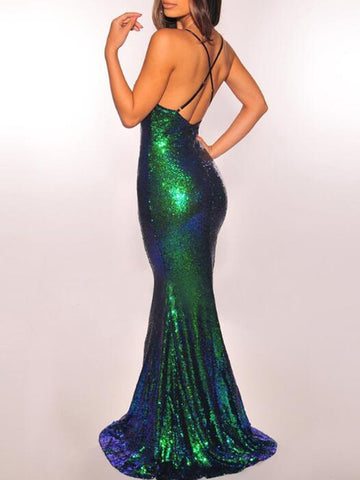 d8d049897ec5 Green Sequin Deep V-neck Spaghetti Strap Mermaid Backless Sparkly Banquet  Evening Party Maxi Dress