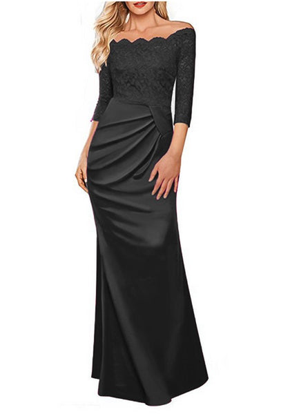 Black Patchwork Lace Pleated Boat Neck Elbow Sleeve Maxi Dress