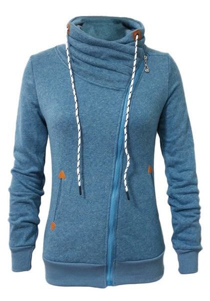 Blue Patchwork Side Zipper Pockets Drawstring Fashion Sweatshirt