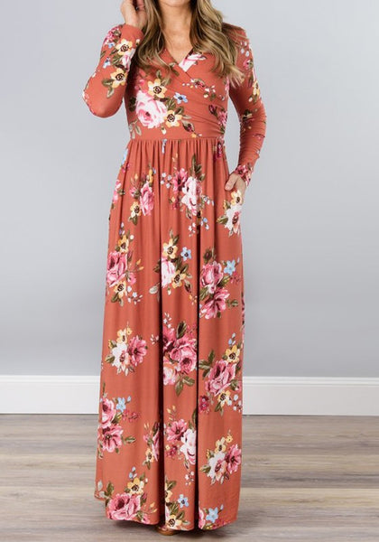 Nacarat Floral Draped Pockets V-neck Long Sleeve Casual Maxi Dress