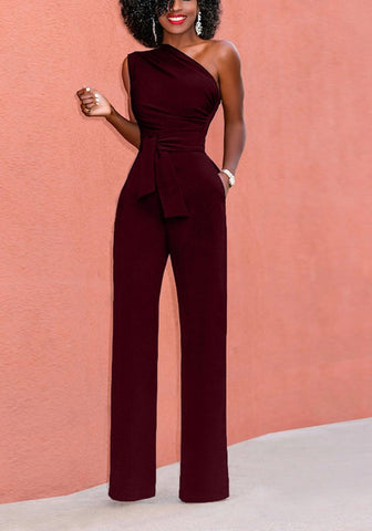 Wine Red Pockets Asymmetric Shoulder Zipper Drawstring Waist Long Jumpsuit