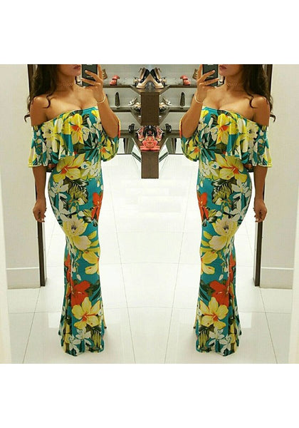 Yellow Floral Ruffle Zipper Boat Neck Fashion Maxi Dress