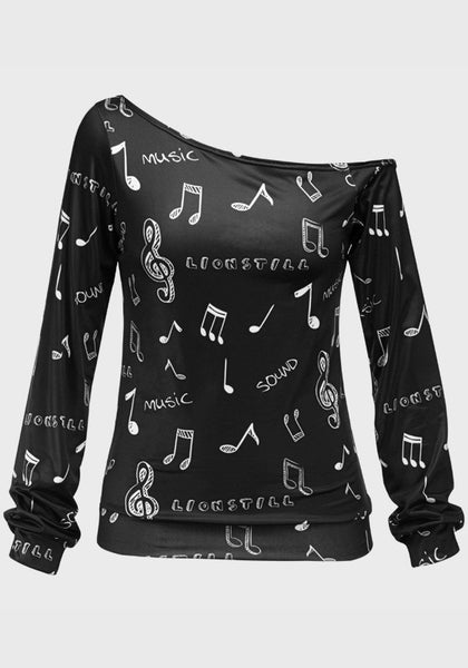 Black Floral Print Irregular Boat Neck Long Sleeve Pullover Sweatshirt