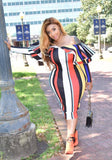White Striped Cascading Ruffle Rainbow Off Shoulder Bodycon Cocktail Party Elegant Midi Dress