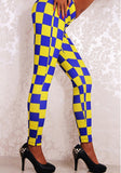 Blue-Yellow Checkered Plaid Sports Yoga Workout Long Legging