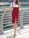 Red Pockets Straps Slit Going out Overall Midi Dress