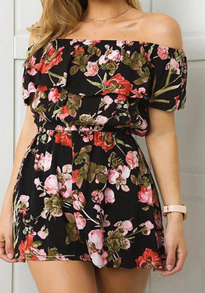 Black Bohemian Floral Off Shoulder Ruffle Backless One-piece Comfy Short Jumpsuit