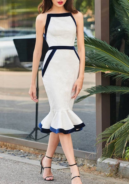 White-Blue Patchwork Pleated Mermaid Bodycon Banquet Elegant Party Midi Dress