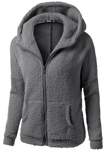 Dark Grey Pockets Zipper Long Sleeve Cardigan Hooded Sweatshirt