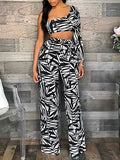 New Black-White Maple Leaf Print Asymmetric Shoulder Belt Backless Casual Wide Leg Palazzo Long Jumpsuit