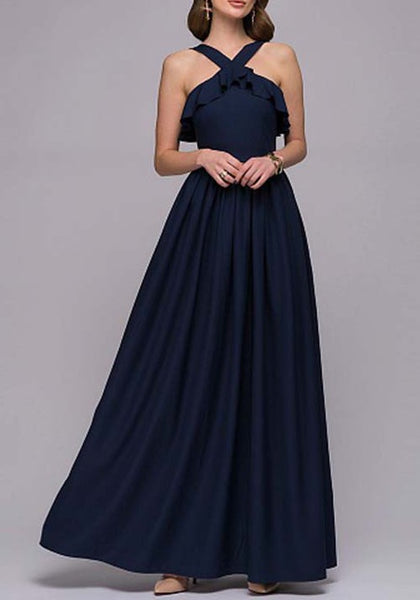 Navy Blue Ruffle Draped Off Shoulder Backless Banquet Elegant Party Maxi Dress