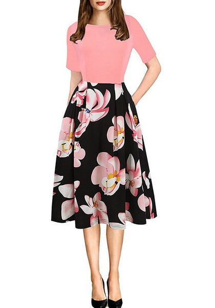 Pink-Black Flowers Print Pockets Round Neck Elbow Sleeve Maxi Dress
