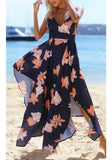 Blue Floral Cross Back Spaghetti Strap V-neck Backless Fashion Summer Beach Maxi Dress