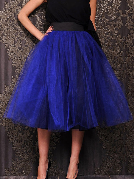 Dark Blue Patchwork Grenadine Pleated Tulle Tutu High Waisted Skirt