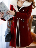 Burgundy Pockets Double Breasted Fur Collar Long Sleeve Elegant Coat