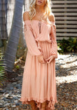 Pink Draped Irregular Lace Off Shoulder Backless High-low Lace-up Bohemian Maxi Dress