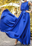 Blue Sashes Draped Flowy High Waisted Elegant Graduation Party Maxi Dress