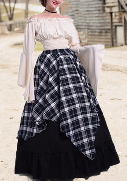Black Plaid Pleated Ruffle Off Shoulder Retro High Waisted Elegant Party Maxi Dress