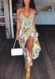 White Tribal Print Spaghetti Strap High-Low Flowy Deep V-neck Bohemian Party Maxi Dress