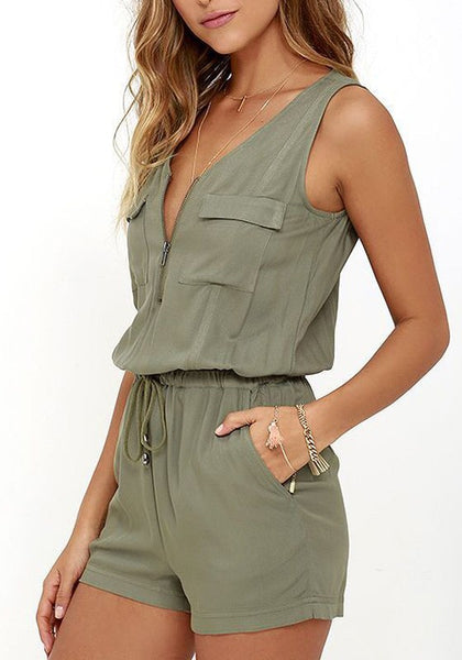 Army Green Plain Pockets Drawstring Zipper Cut Out Short Jumpsuit