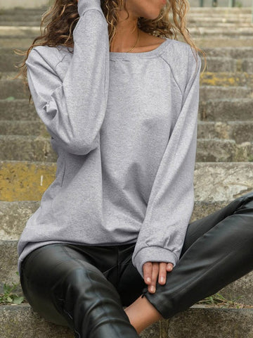 Light Grey Round Neck Long Sleeve Fashion Pullover Sweatshirt