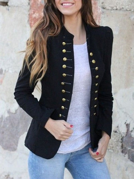 New Black Pockets Double Breasted Band Collar Long Sleeve Elegant Coat