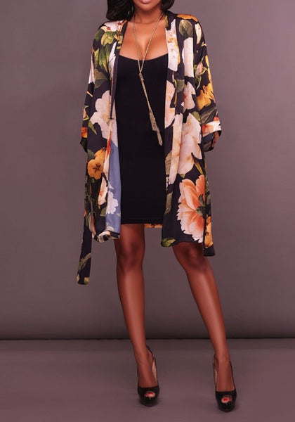 Black Floral Print Sashes Turndown Collar Sweet Cape Coat