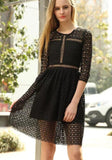 Black Plain Double-deck Round Neck Fashion Lace Midi Dress