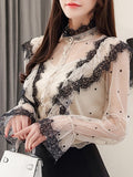 Apricot Polka Dot Lace Ruffle High Neck Elegant Blouse