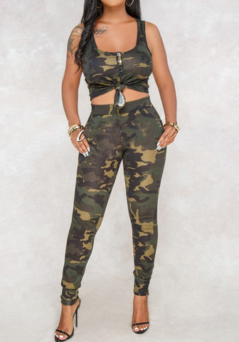 Army Green Camouflage Pockets Midriff 2-in-1 Fashion Long Jumpsuit