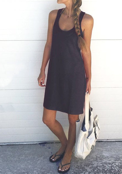 Dark Grey Shoulder-Strap U-neck Sleeveless Loose Casual Midi Dress