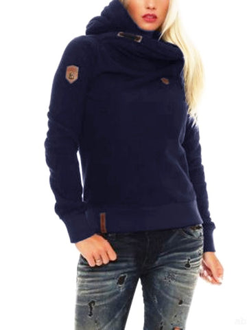 Navy Blue Geometric Drawstring Print Hooded Long Sleeve Fashion Sweatshirt