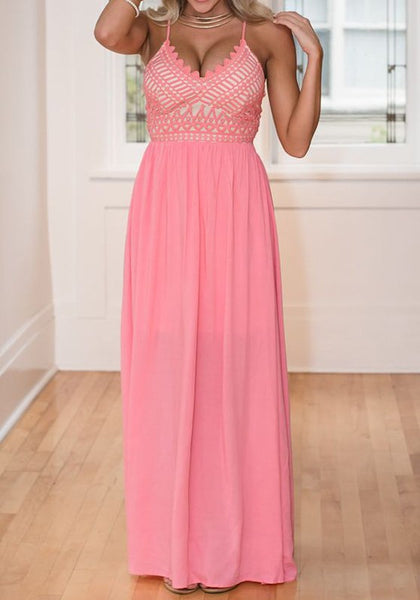 Pink Patchwork Condole Belt Cross Back Tie Back Maxi Dress