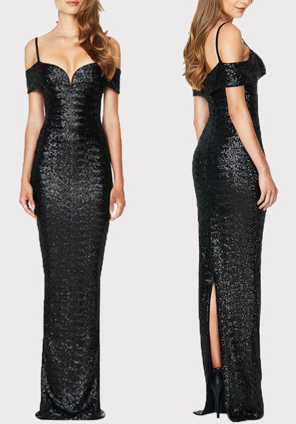 Black Sequin Back Slit Off Shoulder Spaghetti Strap Banquet Elegant Party Maxi Dress