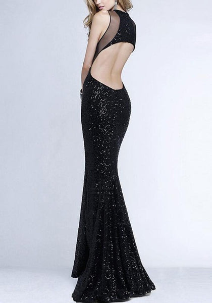 Black Sequin Grenadine Patchwork Sleeveless Party Fashion Maxi Dress