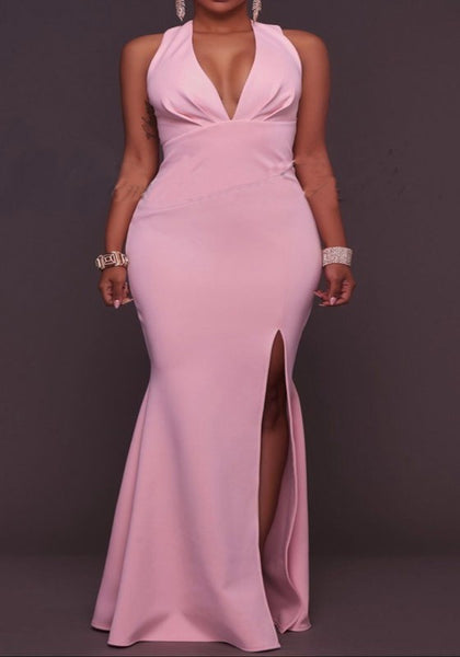 Pink Deep V-neck Irregular Side Slit Mermaid Party Elegant Maxi Dress