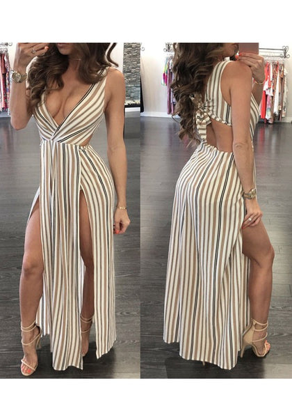Coffee-White Striped Cut Out Tie Back V-neck Double Slit Club Maxi Dress