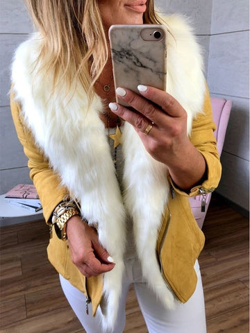 Yellow Patchwork Fur Zipper Pockets Fur Collar Fashion Outerwear