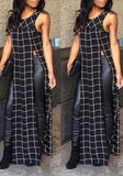 Black Plaid Shoulder-Strap Side Slit Flowy Casual Maxi Dress