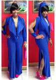 Blue Cut Out Pleated Hooded Long Sleeve Slit Wide Leg Long Jumpsuit