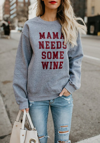 Grey Letter Print Round Neck Long Sleeve Loose Casual Pullover Sweatshirt
