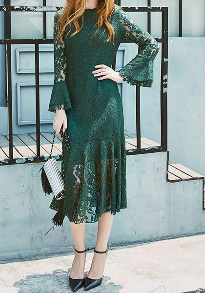 Green Patchwork Lace Round Neck Flutter Sleeve Mermaid Maxi Dress