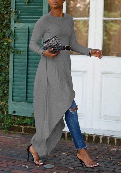 Grey Draped Belt Swallowtail High-low Round Neck Long Sleeve Casual Maxi Dress