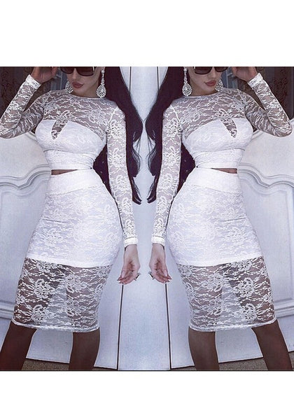 White Patchwork Lace Midriff 2-in-1 Round Neck Midi Dress