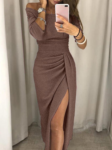 Brown Bright Wire Off Shoulder Irregular Side Slits Long Sleeve Elegant Party Maxi Dress