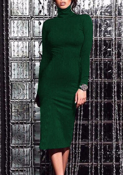 Green Irregular Band Collar High Neck Long Sleeve Midi Dress